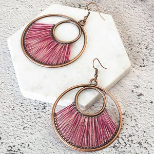 3/$20 New Copper Fuchsia Retro Circle Earrings